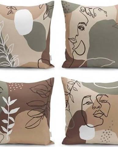 Sada 4 povlaků na polštáře Minimalist Cushion Covers Drawing Face, 43 x 43 cm
