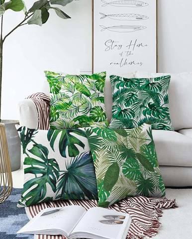 Sada 4 povlaků na polštáře Minimalist Cushion Covers Summer Jungle,55 x 55 cm
