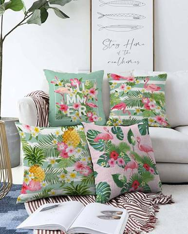 Sada 4 povlaků na polštáře Minimalist Cushion Covers Summer Vibes,55 x 55 cm
