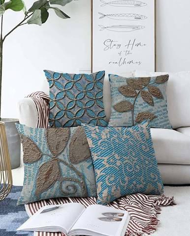 Sada 4 povlaků na polštáře Minimalist Cushion Covers Chenille,55 x 55 cm