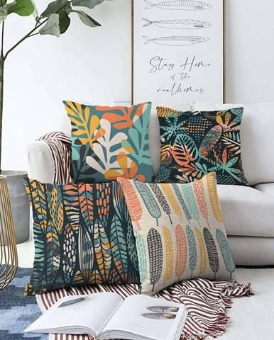 Sada 4 povlaků na polštáře Minimalist Cushion Covers Colorful,55 x 55 cm