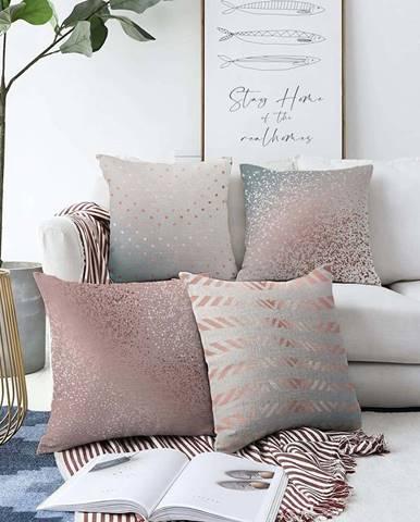 Sada 4 povlaků na polštáře Minimalist Cushion Covers Glitters,55 x 55 cm