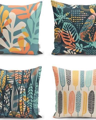 Sada 4 povlaků na polštáře Minimalist Cushion Covers Colorful Leaves, 45 x 45 cm