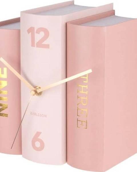 Karlsson Růžové stolní hodiny ve tvaru knih Karlsson