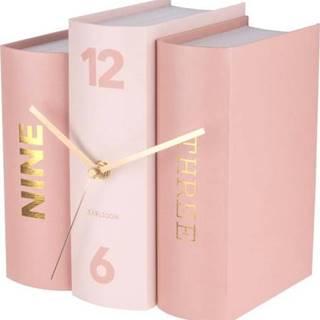Růžové stolní hodiny ve tvaru knih Karlsson