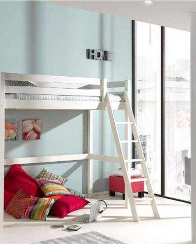 Bílá dětská postel se žebříkem Vipack Pino, 90x200cm