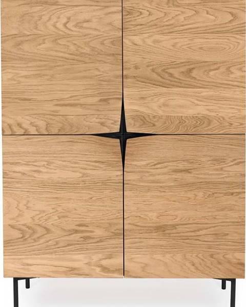 Woodman Hnědý příborník v dekoru dubového dřeva Woodman Flop, 100 x 140 cm