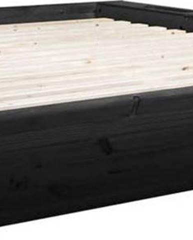 Černá dvoulůžková postel z masivního dřeva s úložným prostorem Karup Design Ziggy, 180 x200cm