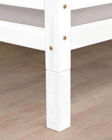 Sada 4 bílých prodloužených nohou ze smrkového dřeva k posteli Benlemi,výška20cm