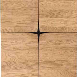 Hnědý příborník v dekoru dubového dřeva Woodman Flop, 100 x 140 cm