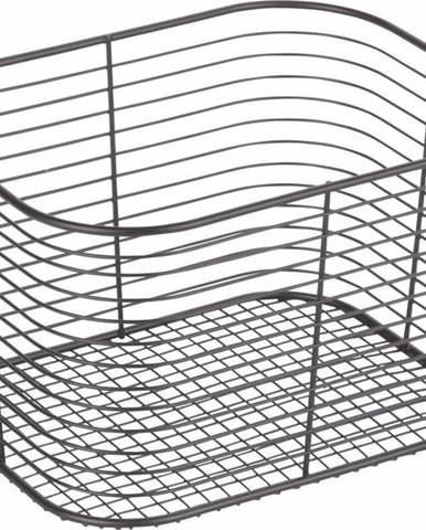 Černý úložný košík iDesign Wien, 23,8 x 18,6 cm