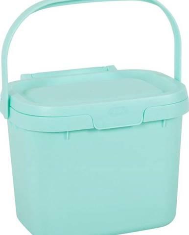 Světle modrý víceúčelový plastový kuchyňský kbelík s víkem Addis, 24,5 x 18,5 x 19 cm