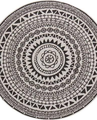 Černo-krémový venkovní koberec Bougari Coron, ø 140 cm