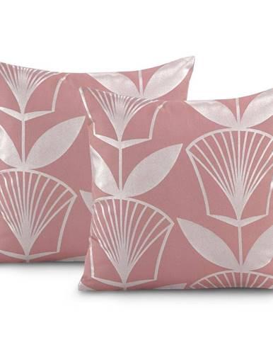 Sada 2 růžových povlaků na polštář AmeliaHome Floris,45x45cm