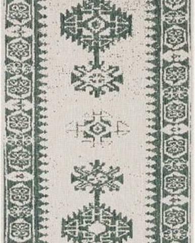Zeleno-krémový venkovní koberec Bougari Duque, 80 x 250 cm