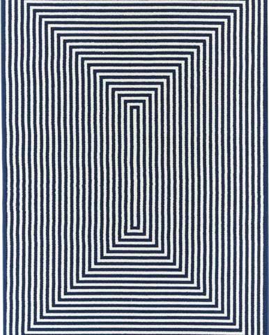 Tmavě modrý venkovní koberec Floorita Braid, 133 x 190 cm