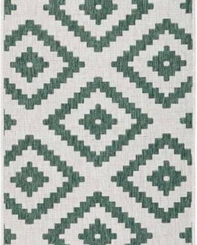 Zeleno-krémový venkovní koberec Bougari Malta, 80x 250 cm