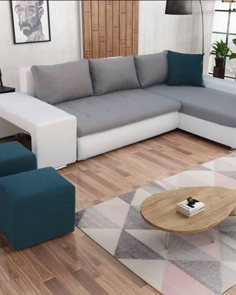 Smartshop Rohová sedačka s taburety LATINO, pravá, šedá látka/modrá látka/bílá ekokůžeNAROŻNIK LATINO ZPUFAMI