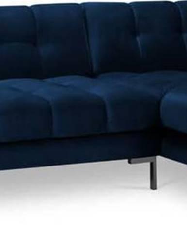 Tmavě modrá sametová rohová pohovka Cosmopolitan Design Bali, pravý roh