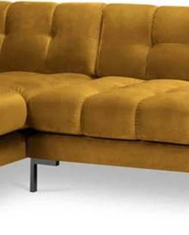 Žlutá sametová rohová pohovka Cosmopolitan Design Bali, levý roh