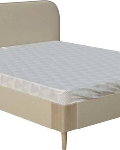 Béžová dvoulůžková postel ProSpánek Lagom Plain Soft, 140 x 200 cm
