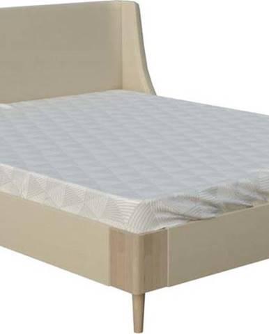 Béžová dvoulůžková postel ProSpánek Sara, 180 x 200 cm