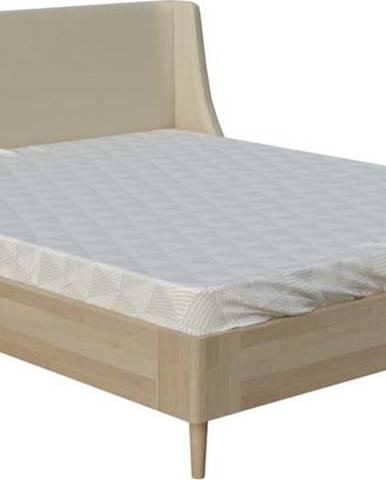 Béžová dvoulůžková postel ProSpánek Lagom Side Wood, 140 x 200 cm