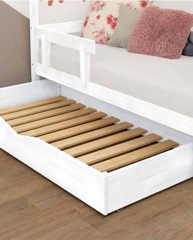 Bílá dřevěná zásuvka pod postel s roštem Benlemi Buddy,90x160cm