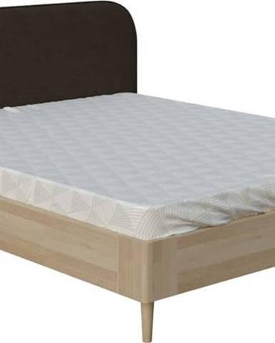 Hnědá dvoulůžková postel ProSpánek Lagom Plain Wood, 160 x 200 cm