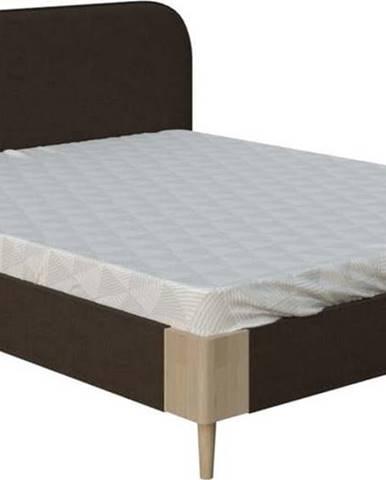 Hnědá dvoulůžková postel ProSpánek Lagom Plain Soft, 140 x 200 cm