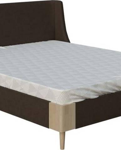 Hnědá dvoulůžková postel ProSpánek Sara, 160 x 200 cm