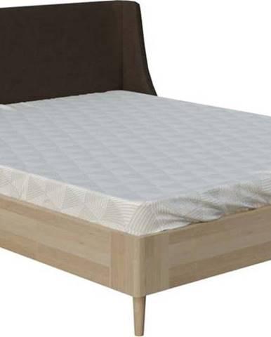 Hnědá dvoulůžková postel ProSpánek Lagom Side Wood, 180 x 200 cm