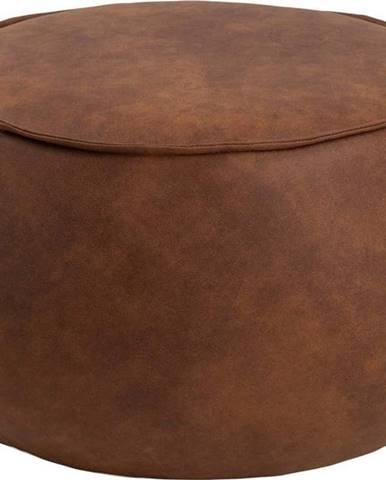 Koňakově hnědý puf z imitace kůže Actona Mie, ⌀ 60 cm