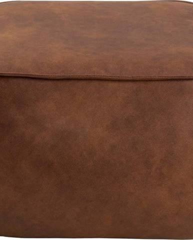 Koňakově hnědý puf z imitace kůže Actona Mie, 60x60 cm