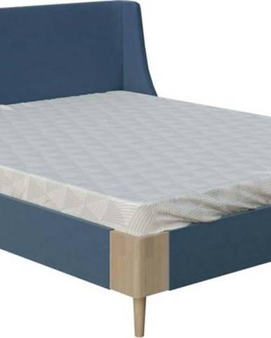 Modrá dvoulůžková postel ProSpánek Lagom Side Soft, 160 x 200 cm