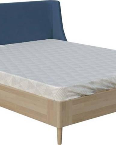 Modrá dvoulůžková postel ProSpánek Lagom Side Wood, 160 x 200 cm