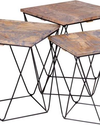 Sada 3 odkládacích stolků se šedou deskou z mangového dřeva House Nordic Ranchi
