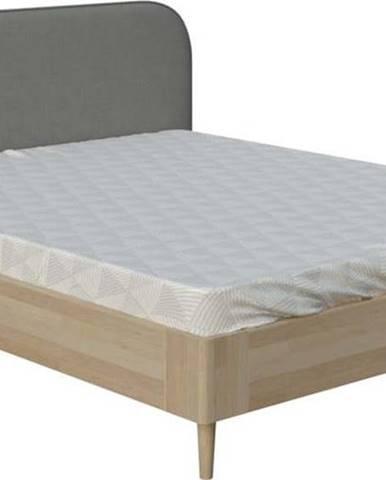 Šedá dvoulůžková postel ProSpánek Lagom Plain Wood, 160 x 200 cm