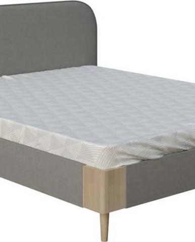 Šedá dvoulůžková postel ProSpánek Lagom Plain Soft, 180 x 200 cm