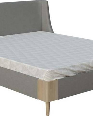 Šedá dvoulůžková postel ProSpánek Sara, 160 x 200 cm