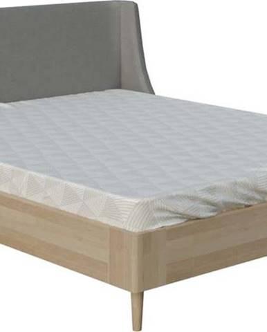 Šedá dvoulůžková postel ProSpánek Lagom Side Wood, 180 x 200 cm