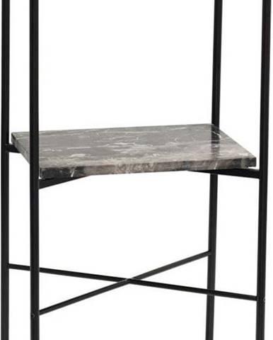 Dvoupatrový příruční stolek s deskou z mramoru Hübsch Halieo