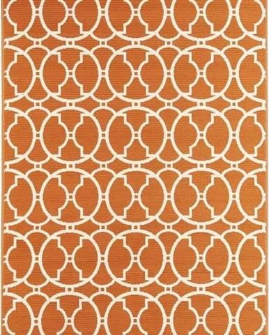Oranžový venkovní koberec Floorita Interlaced, 133 x 190 cm