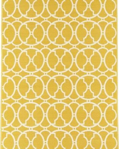Žlutý venkovní koberec Floorita Interlaced, 160 x 230 cm
