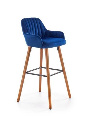 Halmar Barová židle H-93, ořech/tmavě modrá