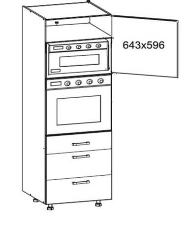 SOLE vysoká skříň DPS60/207 SMARTBOX pravá, korpus šedá grenola, dvířka bílý lesk