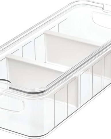 Průhledný úložný box s víkem a 3 přihrádkami iDesign, 38x16cm