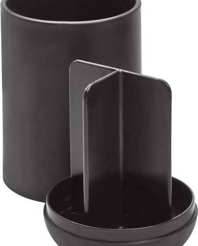 Černý kelímek na kartáčky s přihrádkami iDesign Cade
