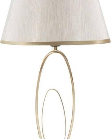 Bílá stolní lampa s konstrukcí ve zlaté barvě Mauro Ferretti Flush