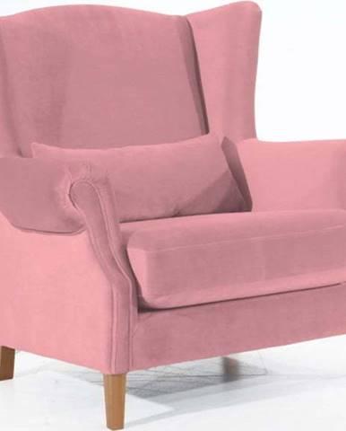 Růžové sametové křeslo ušák Max Winzer Harvey Velvet